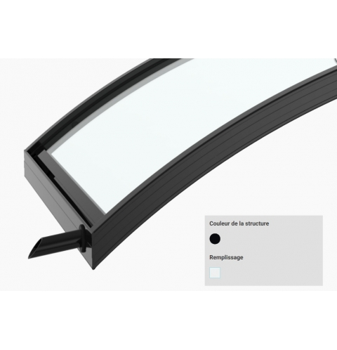 Marquise moderne BOREAL – Noir Satiné RAL 9005