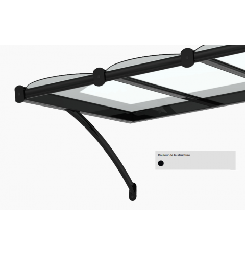 Marquise moderne CLASSIC – Noir Satiné RAL 9005